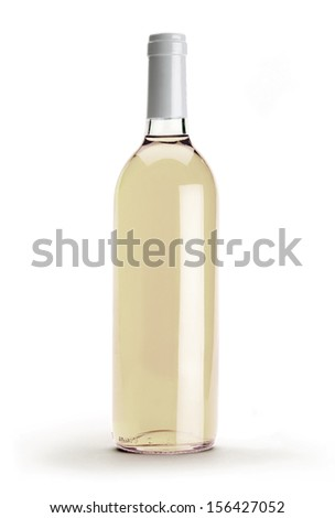 Bottle of white wine isolated on a white background - stock photo