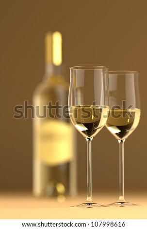 Bottle of white wine with glass on bottom and top reflective. - stock photo
