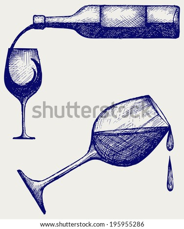 Bottle of wine and glasses. Doodle style. Raster version - stock photo