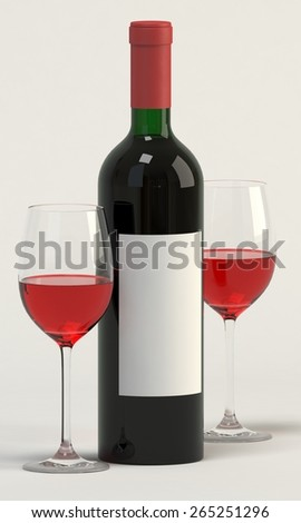 Bottle of wine and two wine glasses. 3D