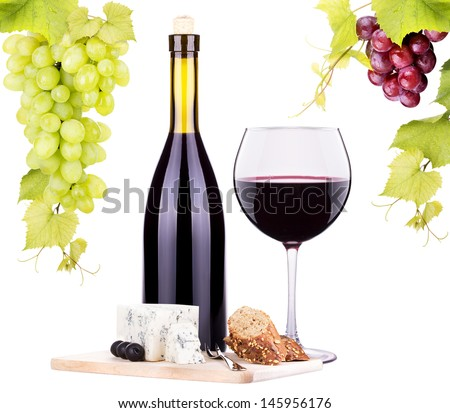 bottle of wine, assortment of  cheese and grapes isolated on white - stock photo