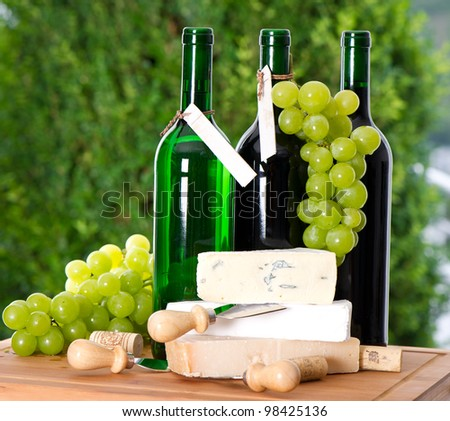 bottle of wine, grape and cheese over nature green background - stock photo