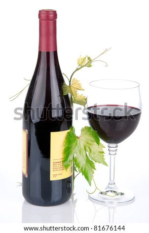 Bottle of wine in the vine with red wine glass on a white background - stock photo