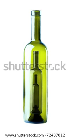 Bottle of wine inside of bottles of wine on a white background - stock photo