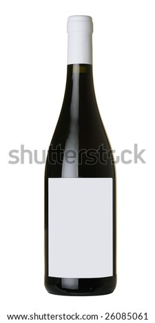 Bottle of wine isolated on 100% white background