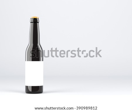 Bottle of wine with blank label. Dark glass. Grey background. Concept of wine. 3D rendering - stock photo