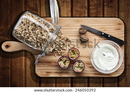 bottle on cereals - stock photo
