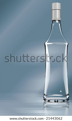 bottle over bluish background