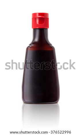bottle packaging of soy bean sauce, japanese food seasoning isolated on white background with clipping path - stock photo