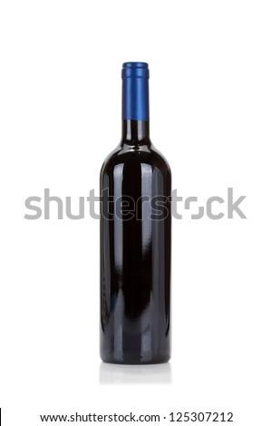 Bottle set. Red wine isolated on white background - stock photo