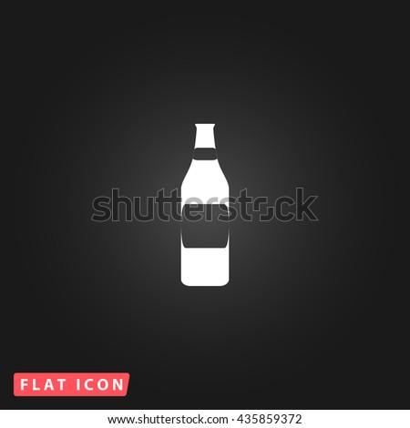 Bottle White flat icon on dark background. Simple illustration pictogram - stock photo