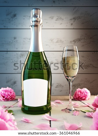 Bottle with a glass of champagne, mockup poster. 3D render. - stock photo