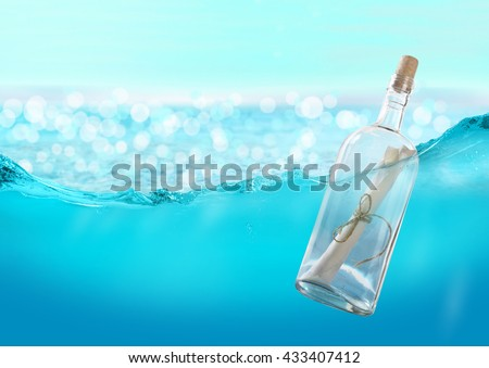 Bottle with a message in the water. - stock photo