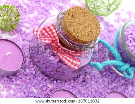 bottle with bath salt - stock photo