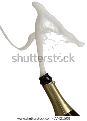 Bottle with champagne splash - stock photo