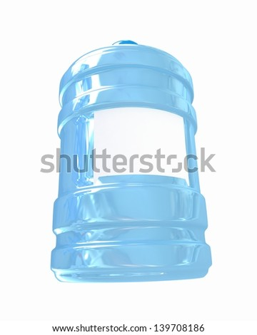 Bottle with clean blue water - stock photo