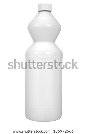Bottle with cleaner isolated on white background - stock photo