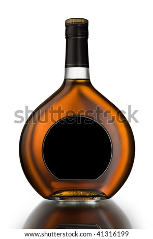 Bottle with cognac - stock photo
