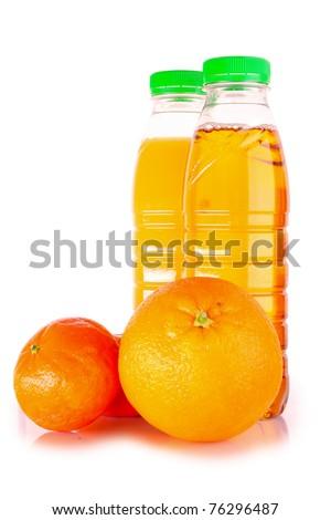 Bottle with juice and orange isolated on white - stock photo