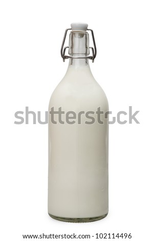 bottle with milk isolated on white with clipping path - stock photo