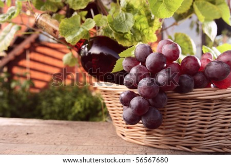 bottle with pink wine and grape in basket. - stock photo