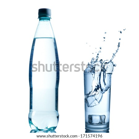Bottle with pure water and splash around it