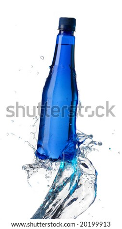 Bottle with pure water and splash around it. Isolated on white. - stock photo