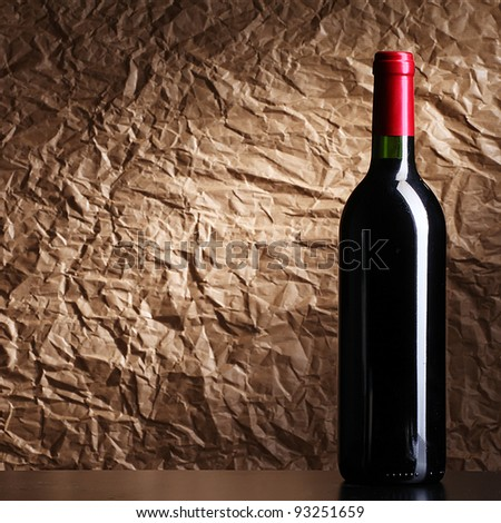 bottle with red wine - stock photo