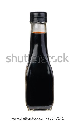 bottle with  soy sauce isolated on the white background - stock photo