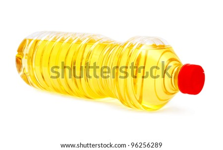 Bottle with sunflower oil on a white background
