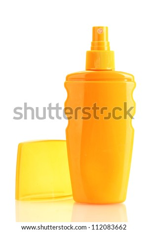 Bottle with suntan cream isolated on white - stock photo
