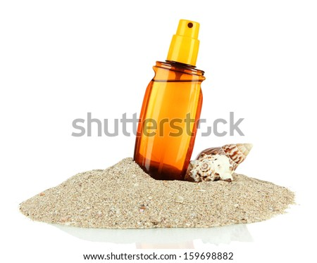 Bottle with suntan cream, isolated on white - stock photo