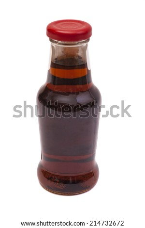 bottle with  syrup isolated on white background.  - stock photo