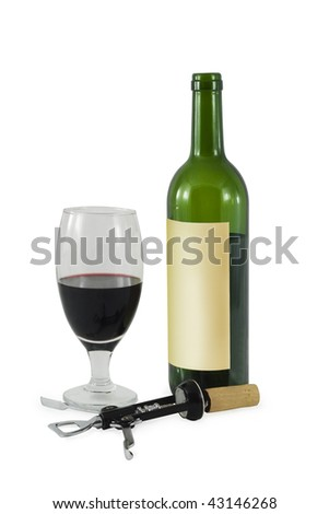 Bottle with wine, glass and cork - stock photo