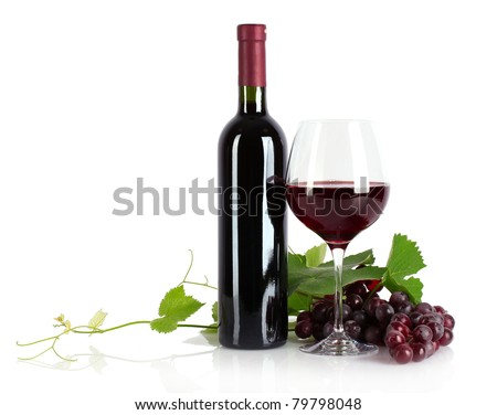 Bottle with wine isolated on white - stock photo