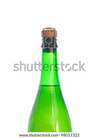 Bottled champagne isolated against a white background