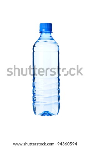 Bottled water isolated over a white background - stock photo