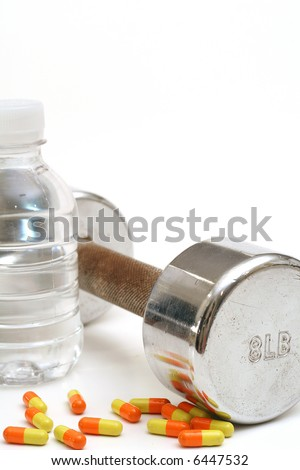 Bottled water with fitness weight & vitamins vertical