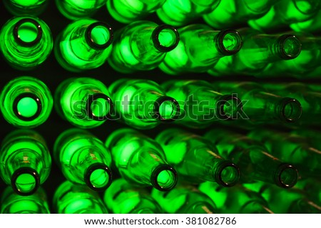 bottles as background green beer texture - stock photo