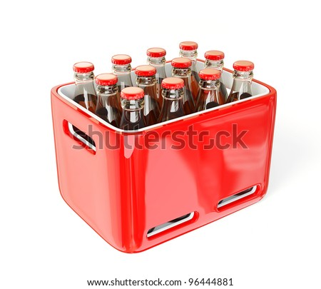 Bottles in case isolated on a white background. - stock photo