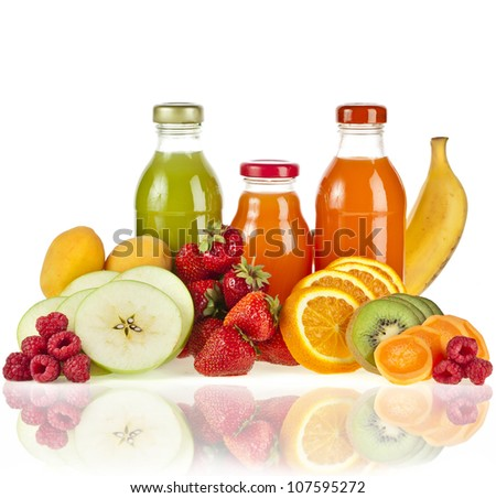 Bottles  juice  with fresh berries and fruits isolated on white - stock photo