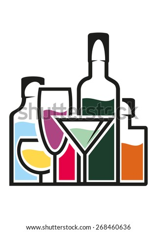 Bottles of alcohol with colourful tropical cocktails in elegant glasses - stock photo