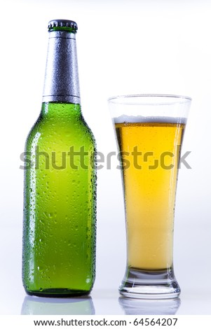 Bottles of beer against, Beer collection - stock photo