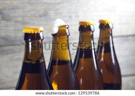 Bottles of beer closeup - stock photo