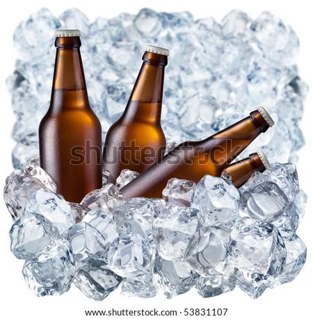 Bottles of beer on ice - stock photo
