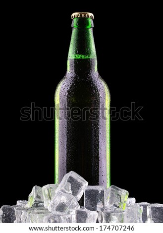 bottles of beer on ice on black background - stock photo