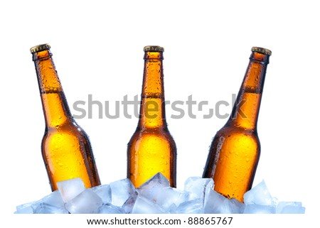 Bottles of beer on ice over white background