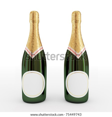 Bottles of champagne with empty label.3d rendered. Isolated on white background. - stock photo