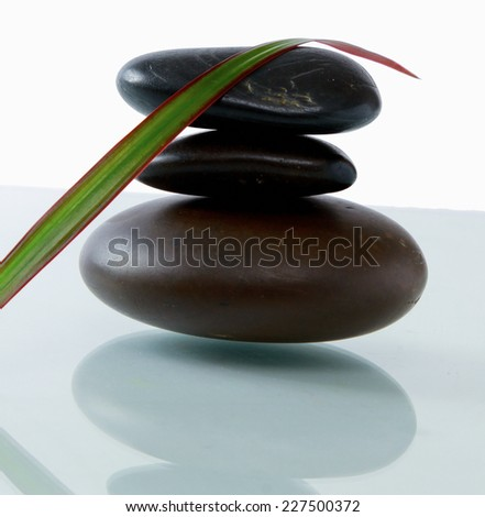 bottles of essential oil and set of stones with flower - stock photo