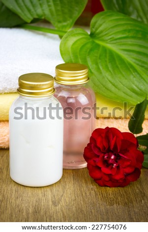 Bottles of essential oil for aromatherapy, rose spa - stock photo
